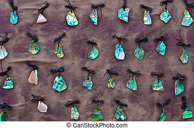 collezione, di, gioielleria, fatto, da, nuova zelanda, paua, sgusciare