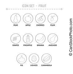 collezione, di, il, frutte