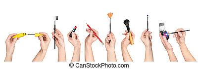 collezione, di, mani, presa a terra, attrezzi, per, trucco,...