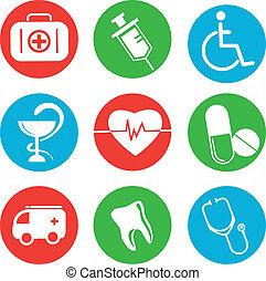 collezione, di, medico, themed, icone