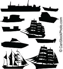 collezione, di, navi
