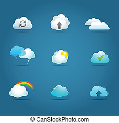 collezione, di, nuvola, vettore, icone