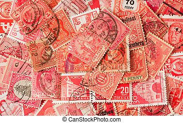collezione, di, rosso, vecchio, francobolli