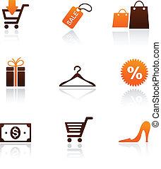 collezione, di, shopping, icone