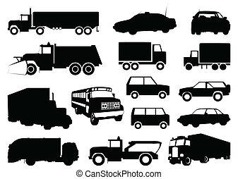 collezione, di, silhouette, di, cars., uno, vettore, illustrazione