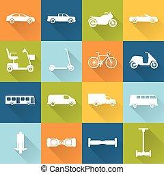 collezione, di, trasporto, icone, silhouette