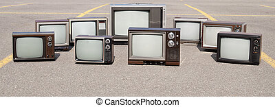 collezione, di, vecchio, tv, serie