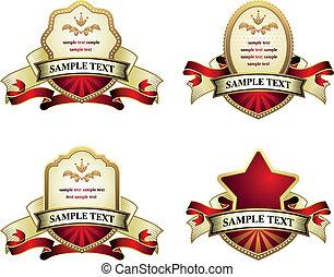 collezione, di, vendemmia, emblemi