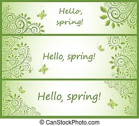 collezione, di, verde, decorativo, orizzontale, stendardo floral
