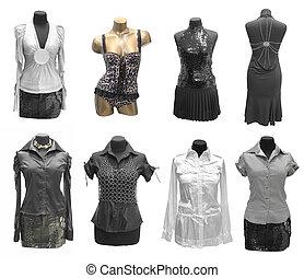 collezione, di, vestire, su, indossatrice