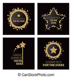 collezione, di, vettore, logos, magia, trucco, per, il, stelle
