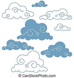collezione, di, vettore, nubi