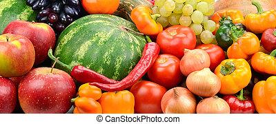 collezione, frutta, e, verdura, fondo