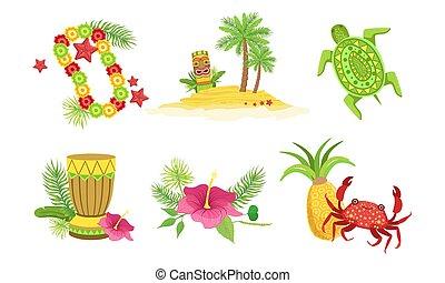 collezione, granchio, tamburo, tiki, albero, ibisco, oggetti, hawaiano, palma, maschera, illustrazione, vettore, ananas, collana, tradizionale, fiore
