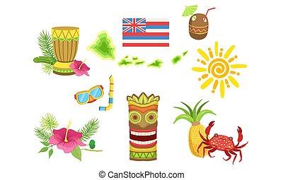 collezione, granchio, tartaruga, cocktail, oggetti, ibisco, sole, hawaiano, maschera, illustrazione, noce di cocco, tradizionale, ananas, vettore, tiki, fiore