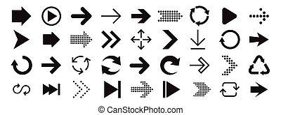 collezione, interface., disegno, segno, freccia, mobile, ...