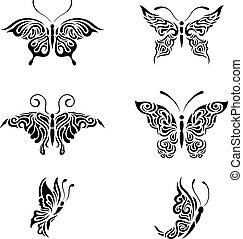 collezione, nero bianco, farfalle