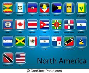 collezione, nord, bandiere, americano