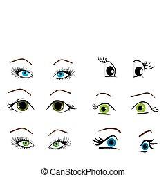 collezione, occhi, vettore, illustrazione, donna