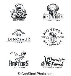 collezione, periodo, dino, antico, distintivo, vettore, design., set., mascotte, etichetta, insegne, logotipo, giurassico, template., illustration., concept., mondo, logotype., dinosauro, sport, raptor, t-rex, parco