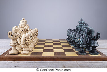 collezione, pezzi, asse, mettere, ordine, scacchi