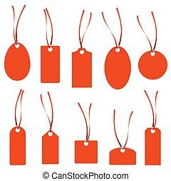 collezione, rosso, hangtag