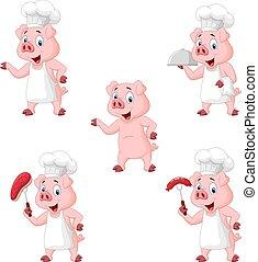 collezione, set, chef, maiale, cartone animato