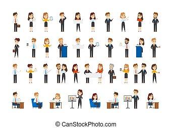collezione, situazioni, differente, lavorante, ufficio