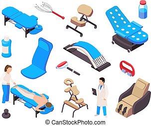 collezione, terapia, massaggio, isometrico