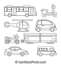 collezione, trasporto, veicolo, immagine, contorno