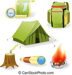 collezione, vettore, campeggio