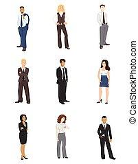 collezione, vettore, illustrazioni, di, persone affari