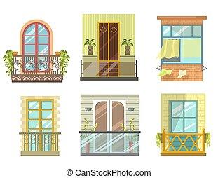 collezione, vista, balconi, stili, vario, fronte, set