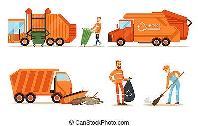 collezionista, togliere, set, illustrations., arancia, immondizia, vettore, camion, garbage.