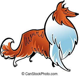 Collie - Colorful illustration of the shepherd dog collie