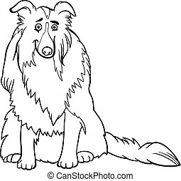collie dog cartoon for coloring book - Black and White...