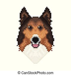 Chihuahua Head In Pixel Art Style Dog Vector Illustration
