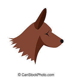 Collie dog icon, flat style