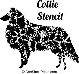 collie, estêncil, cão