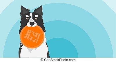 collie, toy., dog, disc., vector, illustratie, vasthouden, grens