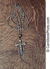 collier, bois, argent, croix