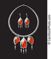 collier, boucles oreille, vecteur, collection, illustration