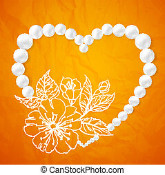 collier, cerise, forme coeur, perle