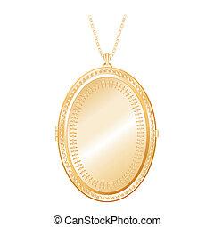 collier, chaîne or, médaillon, vendange