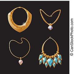 collier, charme, vecteur, collection, illustration