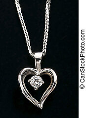 collier, coeur, diamant