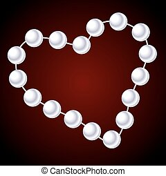 collier, forme coeur, blanc
