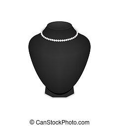 collier, noir, isolé, mannequin, perle, arrière-plan., blanc