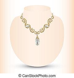 collier, pendentifs, doré, perle, féminin
