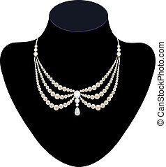 collier, perle, diamants